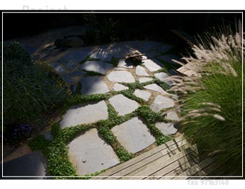 Slate step stones within granitic sand softened, Dichondra plants